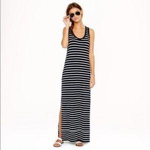 J. CREW Black Striped Maxi Dress Women's XL EUC